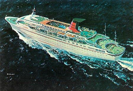 Postal oficial del nuevo barco de cruceros de Cunard Cunard anuncia el debut del Cunard Countess (29 julio 1976) - CruceroAdicto.com