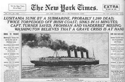 Portada del 8 de mayo de 1915 del diario The New York Times