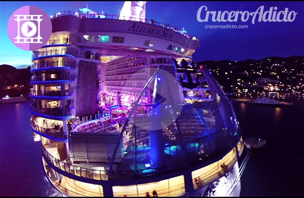 video sobrevolando el Allure of the Seas