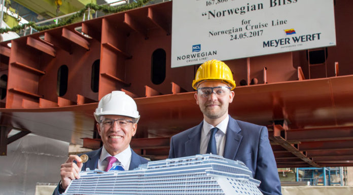 Construcción del Norwegian Bliss partners first awards - construcci  n del Norwegian Bliss 696x385 - Norwegian Cruise Line celebra sus VII Partners First Awards