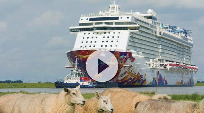 navegación por el estrecho río Ems del World Dream vídeo del koningsdam - r  o Ems del World Dream 696x385 - Glorioso vídeo del Koningsdam a vista de drone !